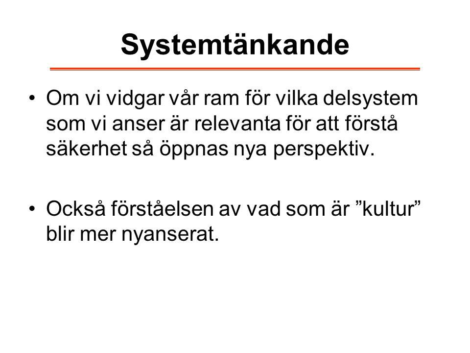 Systemtänkande Om vi vidgar vår ram för vilka delsystem som vi anser är relevanta för att förstå säkerhet så öppnas nya perspektiv. Också förståelsen