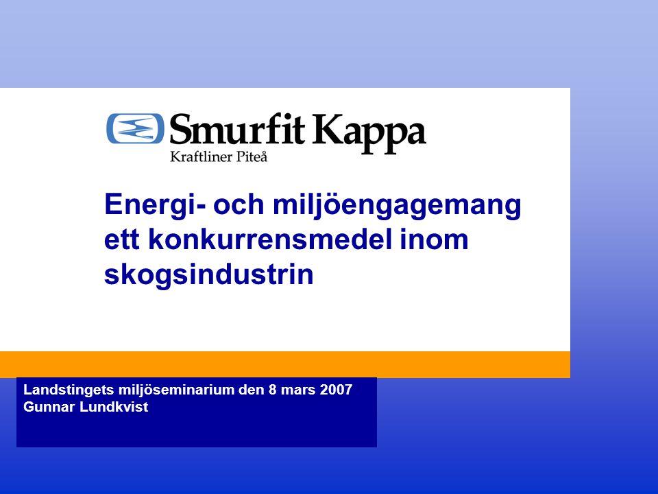 Energi- och miljöengagemang ett konkurrensmedel inom skogsindustrin Landstingets miljöseminarium den 8 mars 2007 Gunnar Lundkvist
