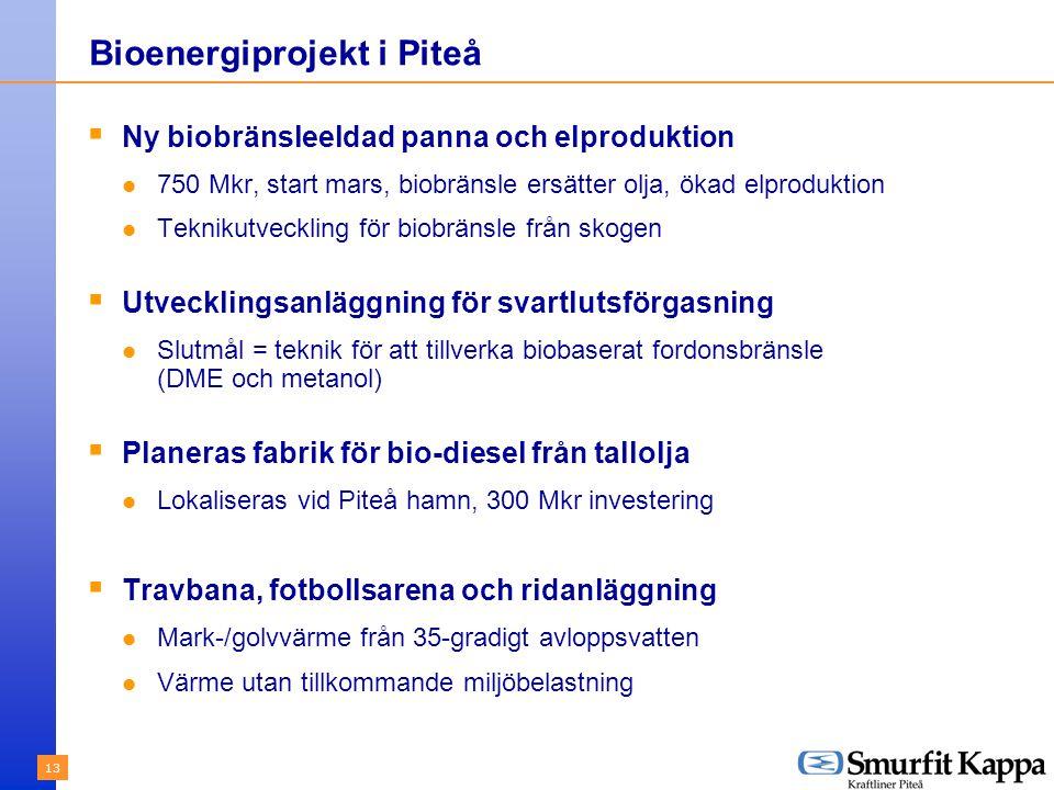 13 Bioenergiprojekt i Piteå  Ny biobränsleeldad panna och elproduktion 750 Mkr, start mars, biobränsle ersätter olja, ökad elproduktion Teknikutveckling för biobränsle från skogen  Utvecklingsanläggning för svartlutsförgasning Slutmål = teknik för att tillverka biobaserat fordonsbränsle (DME och metanol)  Planeras fabrik för bio-diesel från tallolja Lokaliseras vid Piteå hamn, 300 Mkr investering  Travbana, fotbollsarena och ridanläggning Mark-/golvvärme från 35-gradigt avloppsvatten Värme utan tillkommande miljöbelastning