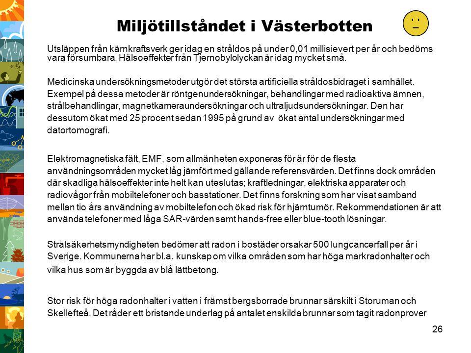 26 Miljötillståndet i Västerbotten Utsläppen från kärnkraftsverk ger idag en stråldos på under 0,01 millisievert per år och bedöms vara försumbara.