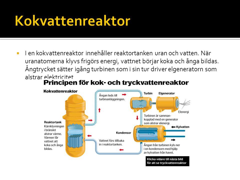  I en kokvattenreaktor innehåller reaktortanken uran och vatten. När uranatomerna klyvs frigörs energi, vattnet börjar koka och ånga bildas. Ångtryck