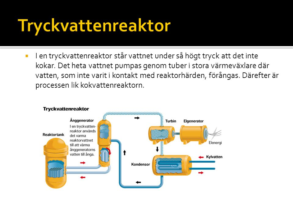  I en tryckvattenreaktor står vattnet under så högt tryck att det inte kokar. Det heta vattnet pumpas genom tuber i stora värmeväxlare där vatten, so