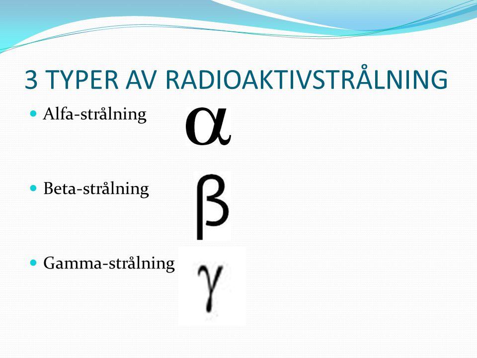 3 TYPER AV RADIOAKTIVSTRÅLNING Alfa-strålning Beta-strålning Gamma-strålning