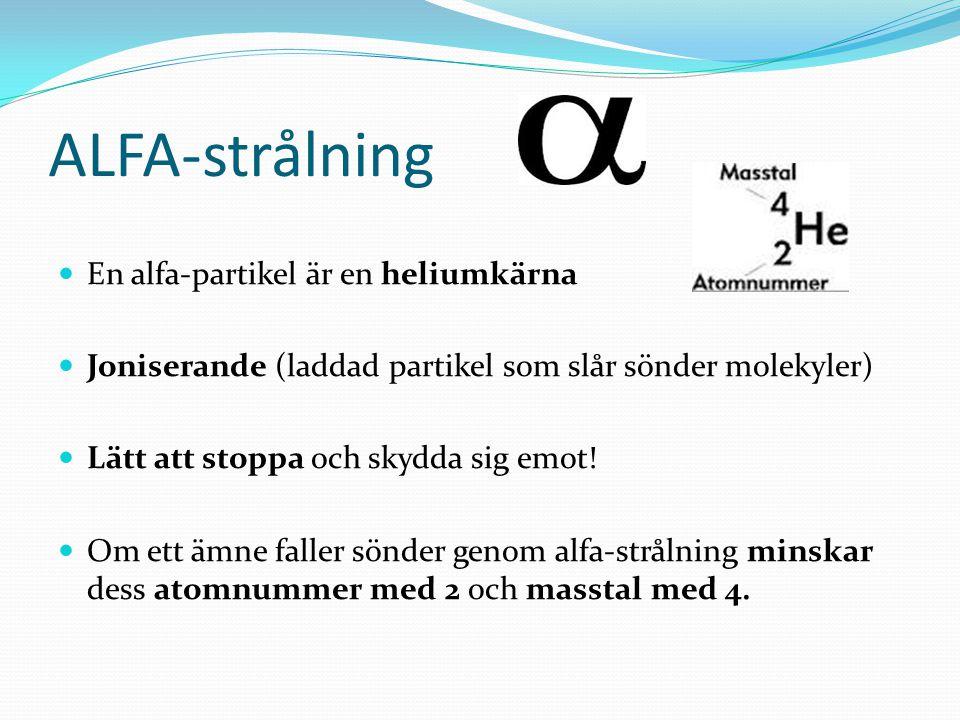 ALFA-strålning En alfa-partikel är en heliumkärna Joniserande (laddad partikel som slår sönder molekyler) Lätt att stoppa och skydda sig emot! Om ett