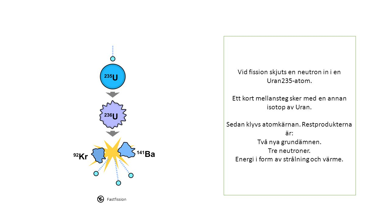Vid fission skjuts en neutron in i en Uran235-atom. Ett kort mellansteg sker med en annan isotop av Uran. Sedan klyvs atomkärnan. Restprodukterna är: