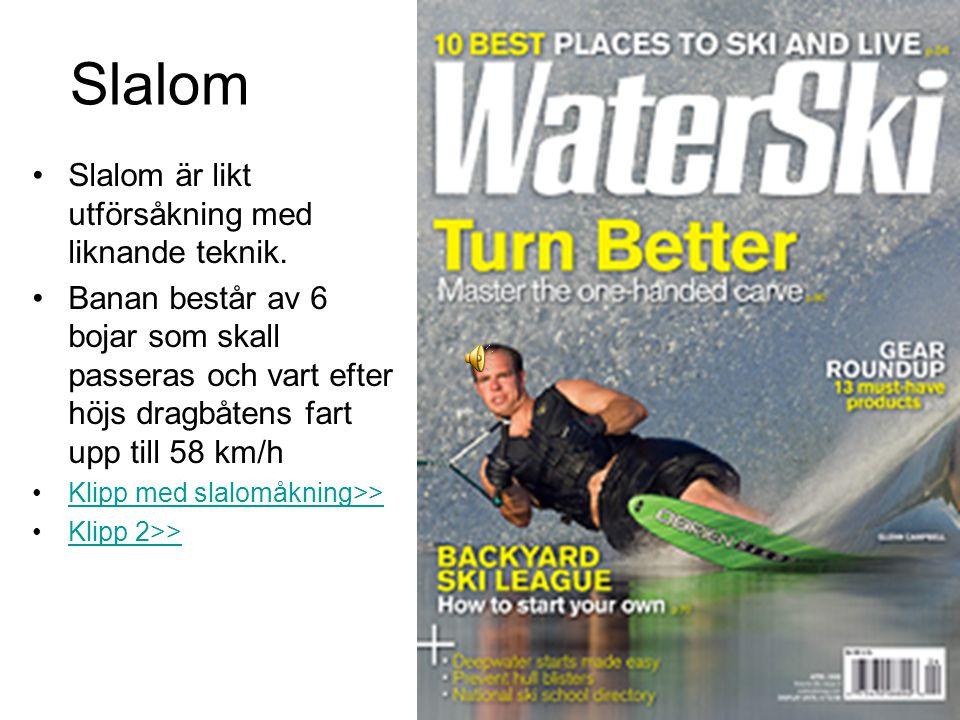 Slalom Slalom är likt utförsåkning med liknande teknik.