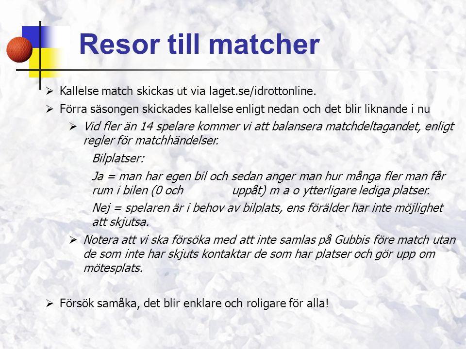 Resor till matcher  Kallelse match skickas ut via laget.se/idrottonline.  Förra säsongen skickades kallelse enligt nedan och det blir liknande i nu