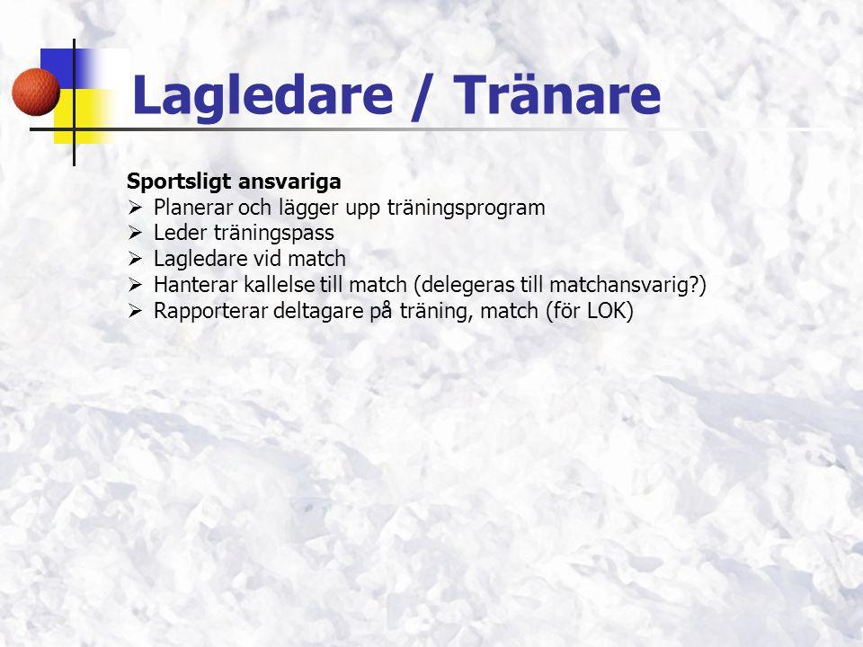 Lagledare / Tränare Sportsligt ansvariga  Planerar och lägger upp träningsprogram  Leder träningspass  Lagledare vid match  Hanterar kallelse till