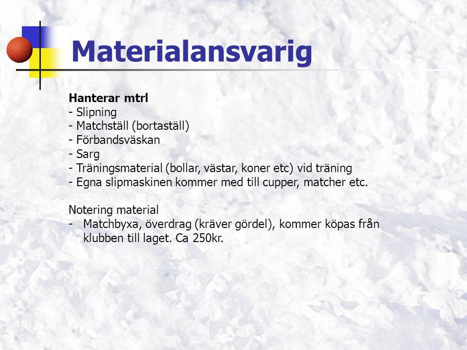 Materialansvarig Hanterar mtrl - Slipning - Matchställ (bortaställ) - Förbandsväskan - Sarg - Träningsmaterial (bollar, västar, koner etc) vid träning - Egna slipmaskinen kommer med till cupper, matcher etc.