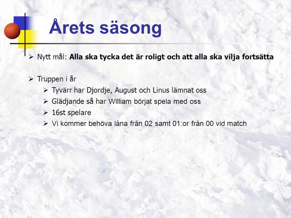 Årets säsong  Nytt mål: Alla ska tycka det är roligt och att alla ska vilja fortsätta  Truppen i år  Tyvärr har Djordje, August och Linus lämnat os