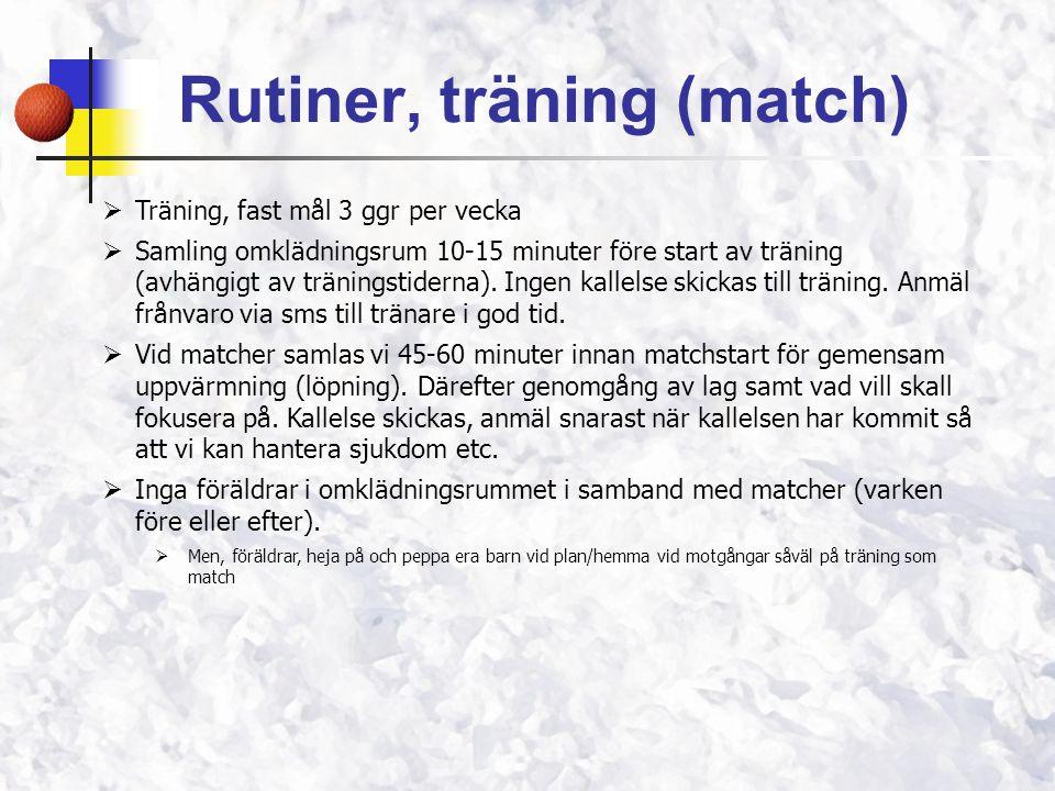 Rutiner, träning (match)  Träning, fast mål 3 ggr per vecka  Samling omklädningsrum 10-15 minuter före start av träning (avhängigt av träningstiderna).