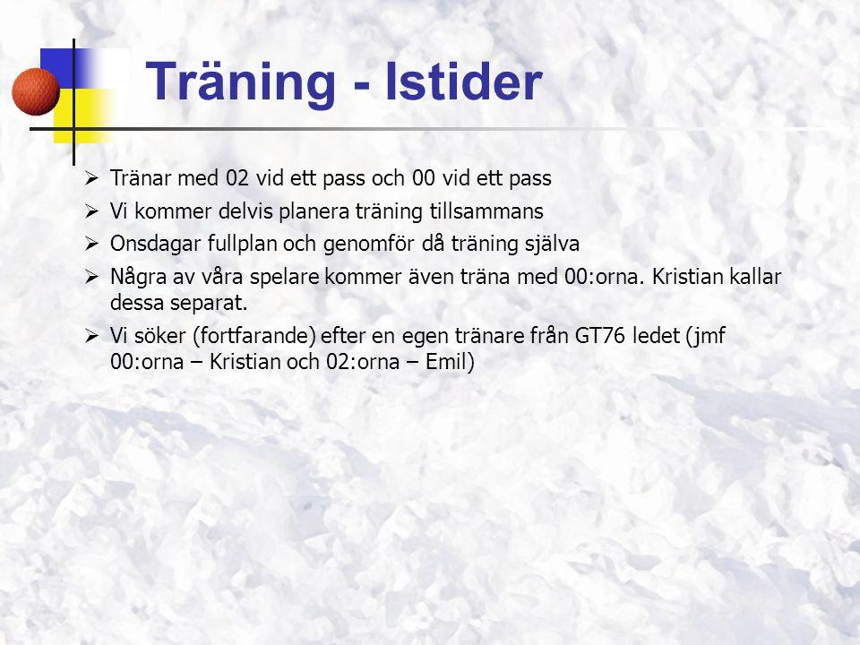  Tränar med 02 vid ett pass och 00 vid ett pass  Vi kommer delvis planera träning tillsammans  Onsdagar fullplan och genomför då träning själva  N