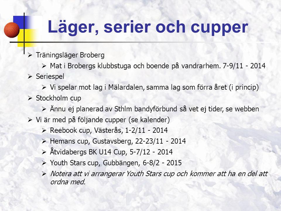 Läger, serier och cupper  Träningsläger Broberg  Mat i Brobergs klubbstuga och boende på vandrarhem. 7-9/11 - 2014  Seriespel  Vi spelar mot lag i