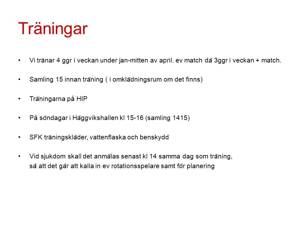 Organisation Lagansvarig och huvudtränare från föreningen (Tomas Lejweman): Ansvarar för laget Ansvarar för träningar och laguttagningar Ansvarar för träningsinnehåll och träningsupplägg Instruera övriga tränare kring träning&coachning vid matchsituation Ansvarar för att informera om rent spel bland spelare, ledare & föräldrar Lagledare (Ulf Pettersson): Ansvarar för att tillsätta alla funktioner inom laget Språkrör för laget mot styrelsen & föreningen i övrigt Ansvarig; information, bokning, anmälan & utskick Assisterande tränare Hjälpa till med att genomföra och assistera vid träningar Hjälpa till vid behov av coachning vid match