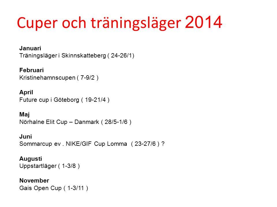 Cuper och träningsläger 2014 Januari Träningsläger i Skinnskatteberg ( 24-26/1) Februari Kristinehamnscupen ( 7-9/2 ) April Future cup i Göteborg ( 19-21/4 ) Maj Nörhalne Elit Cup – Danmark ( 28/5-1/6 ) Juni Sommarcup ev.