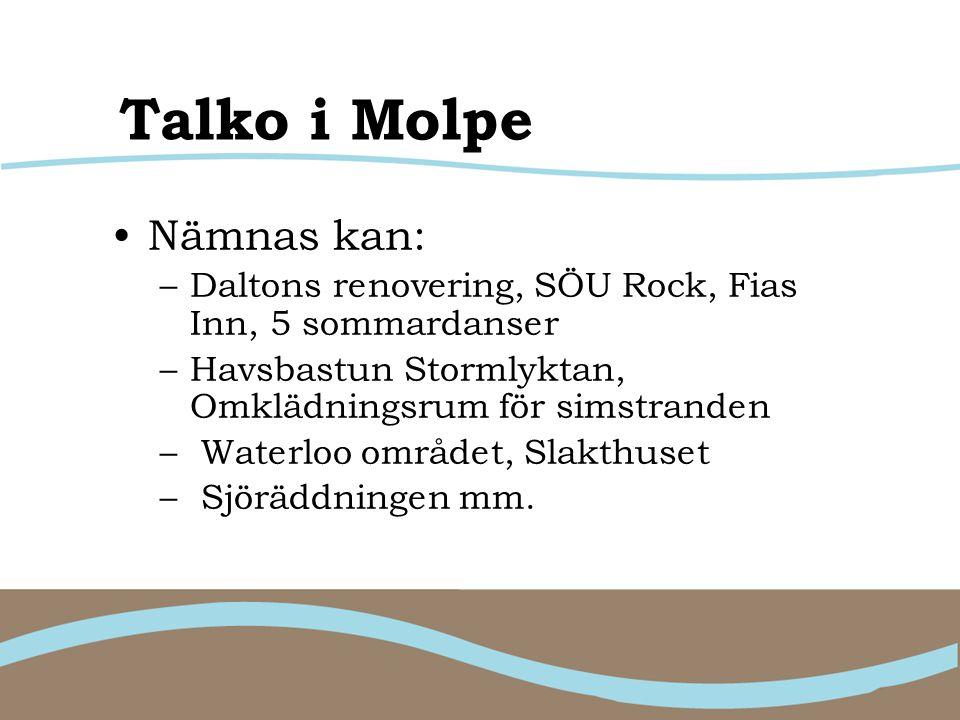 Talko i Molpe Nämnas kan: –Daltons renovering, SÖU Rock, Fias Inn, 5 sommardanser –Havsbastun Stormlyktan, Omklädningsrum för simstranden – Waterloo o