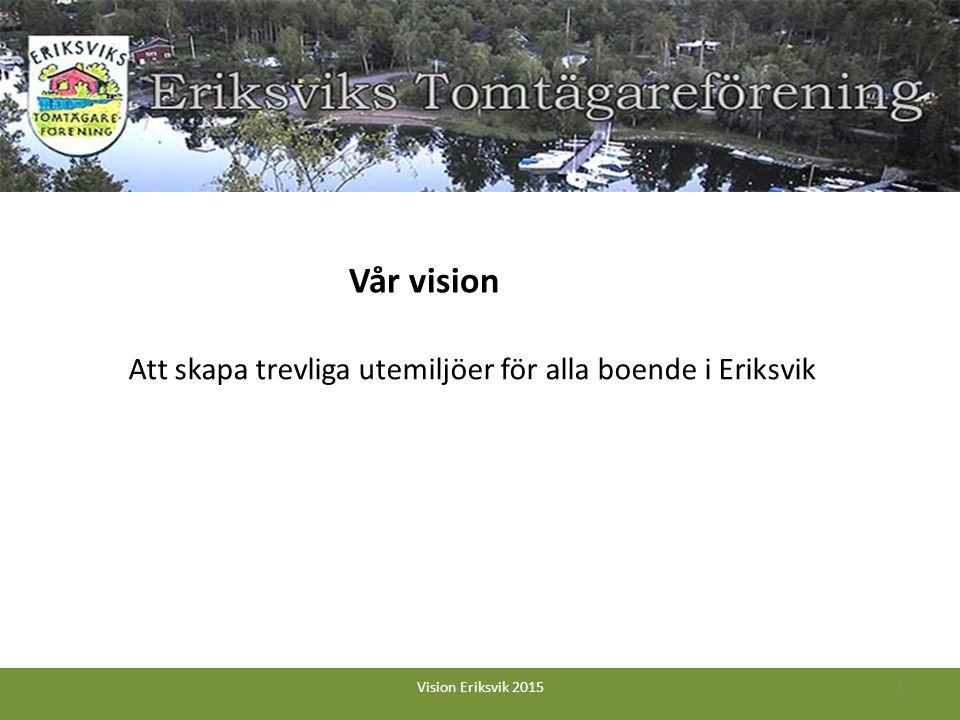 Att skapa trevliga utemiljöer för alla boende i Eriksvik 2Vision Eriksvik 2015 Vår vision