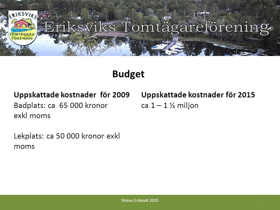 Uppskattade kostnader för 2009 Badplats: ca 65 000 kronor exkl moms Lekplats: ca 50 000 kronor exkl moms Uppskattade kostnader för 2015 ca 1 – 1 ½ miljon 7Vision Eriksvik 2015 Budget