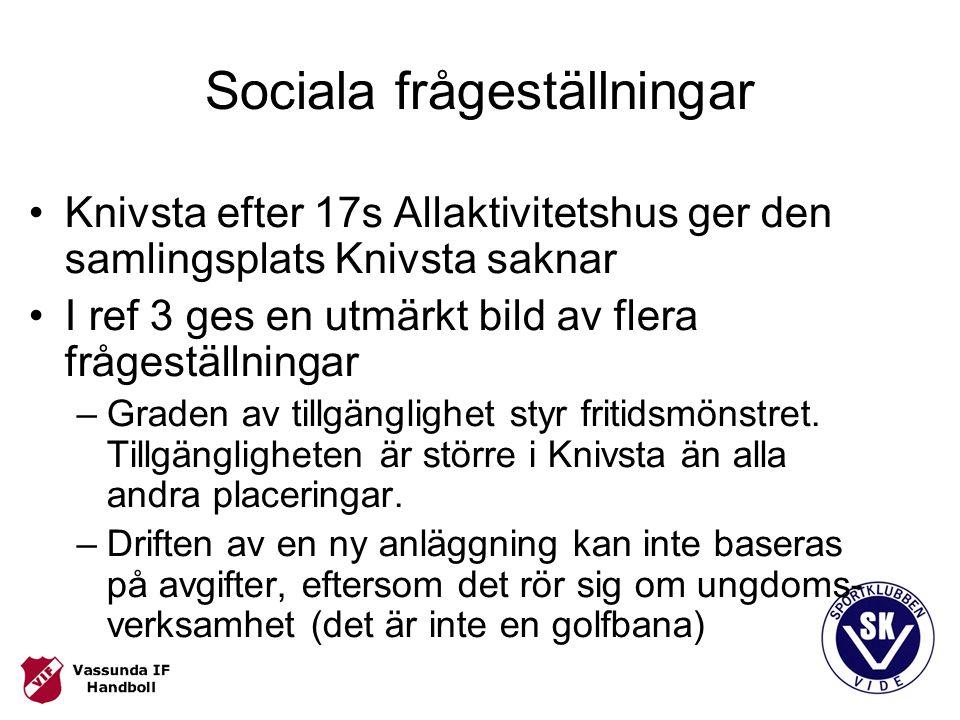 Sociala frågeställningar Knivsta efter 17s Allaktivitetshus ger den samlingsplats Knivsta saknar I ref 3 ges en utmärkt bild av flera frågeställningar –Graden av tillgänglighet styr fritidsmönstret.