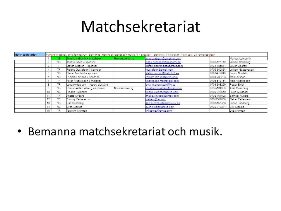 Matchsekretariat Bemanna matchsekretariat och musik. Matchsekretariat:Planera matcher, omklädningsrum. Bemanna matchsekretariat och musik. 4 x speaker