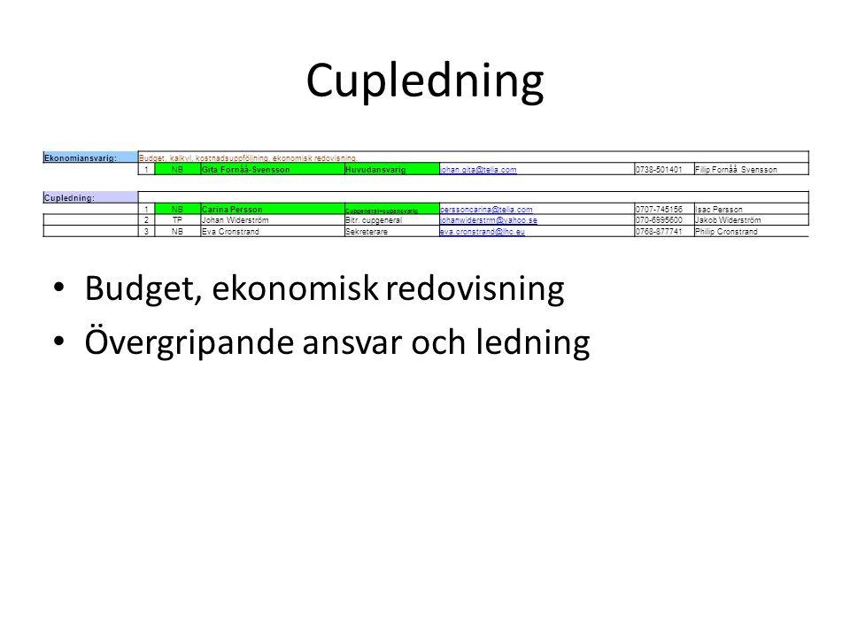 Cupledning Budget, ekonomisk redovisning Övergripande ansvar och ledning Ekonomiansvarig:Budget, kalkyl, kostnadsuppföljning, ekonomisk redovisning. 1