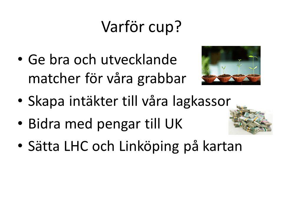 Varför cup? Ge bra och utvecklande matcher för våra grabbar Skapa intäkter till våra lagkassor Bidra med pengar till UK Sätta LHC och Linköping på kar