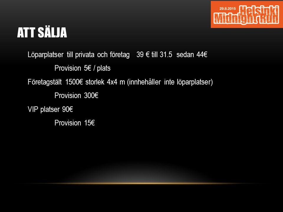 ATT SÄLJA Löparplatser till privata och företag 39 € till 31.5 sedan 44€ Provision 5€ / plats Företagstält 1500€ storlek 4x4 m (innhehåller inte löpar