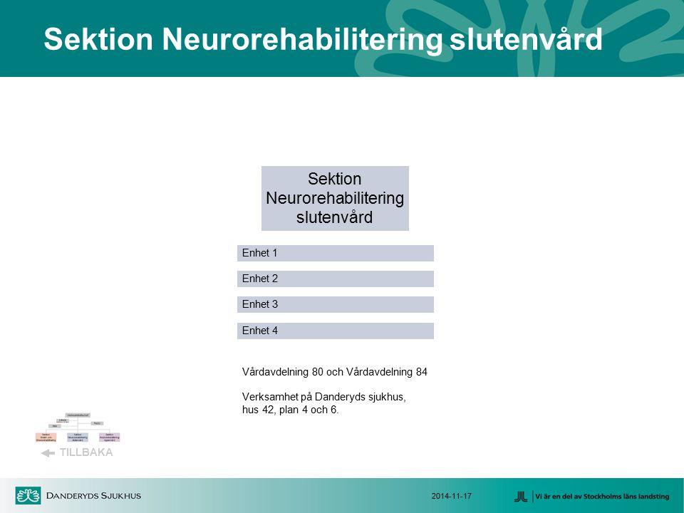 2014-11-17 Sektion Neurorehabilitering slutenvård Sektion Neurorehabilitering slutenvård Enhet 4 Enhet 3 Enhet 2 Enhet 1 TILLBAKA Vårdavdelning 80 och