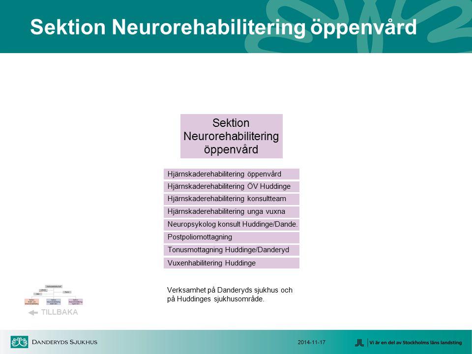 2014-11-17 Sektion Neurorehabilitering öppenvård TILLBAKA Sektion Neurorehabilitering öppenvård Hjärnskaderehabilitering konsultteam Vuxenhabilitering