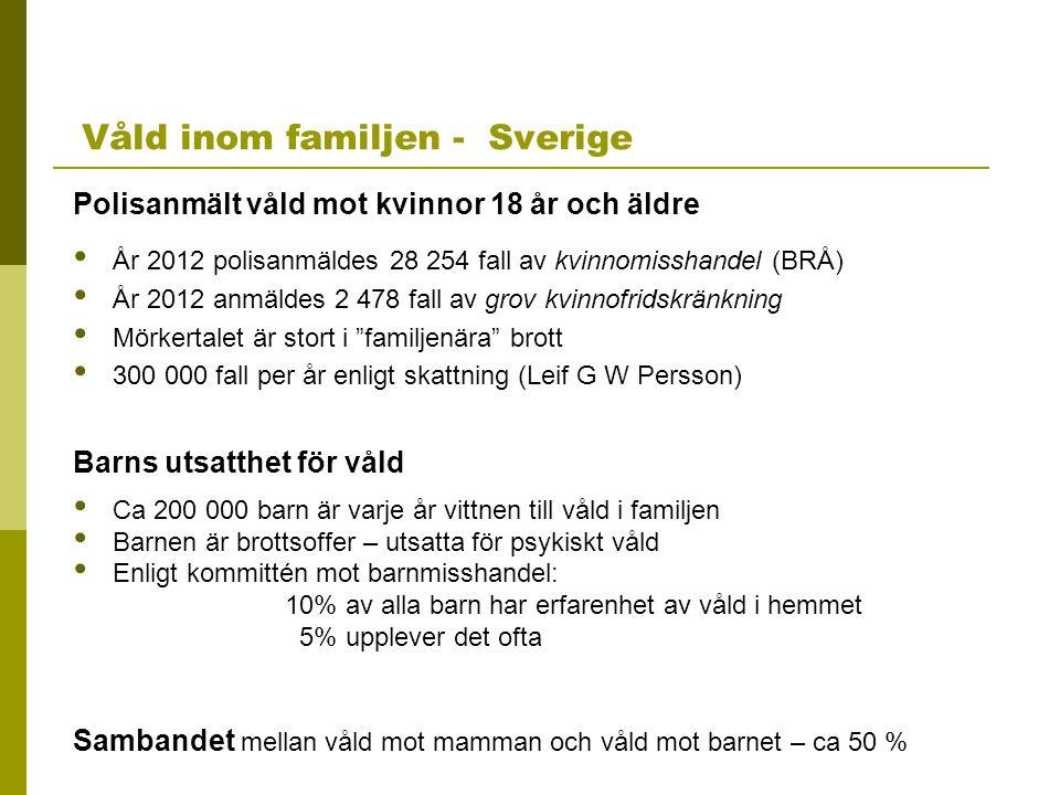 Våld inom familjen - Sverige Polisanmält våld mot kvinnor 18 år och äldre År 2012 polisanmäldes 28 254 fall av kvinnomisshandel (BRÅ) År 2012 anmäldes