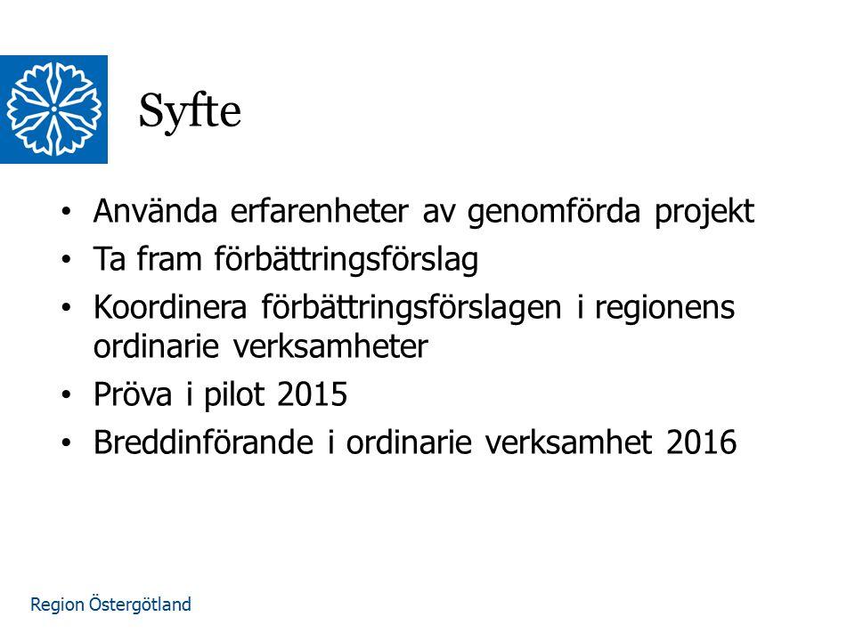 Region Östergötland Använda erfarenheter av genomförda projekt Ta fram förbättringsförslag Koordinera förbättringsförslagen i regionens ordinarie verksamheter Pröva i pilot 2015 Breddinförande i ordinarie verksamhet 2016 Syfte