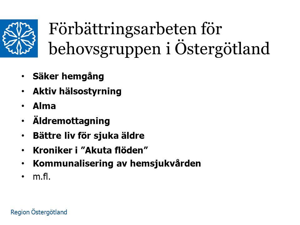 Region Östergötland Omvärldsbevakning Pågående förbättringsarbeten i Östergötland Förstudiegrupp från primärvård, geriatrik, LAH, Kardiologen, ledningsstaben, FoU, Kommuner SWOT och Riskanalys av nuvarande omhändertagande och samverkan kring behovsgruppen Tydliggjort respektive verksamhets roll för behovsgruppen.