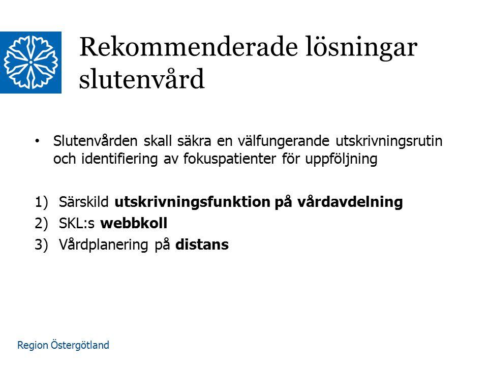 Region Östergötland Slutenvården skall säkra en välfungerande utskrivningsrutin och identifiering av fokuspatienter för uppföljning 1)Särskild utskrivningsfunktion på vårdavdelning 2)SKL:s webbkoll 3)Vårdplanering på distans Rekommenderade lösningar slutenvård