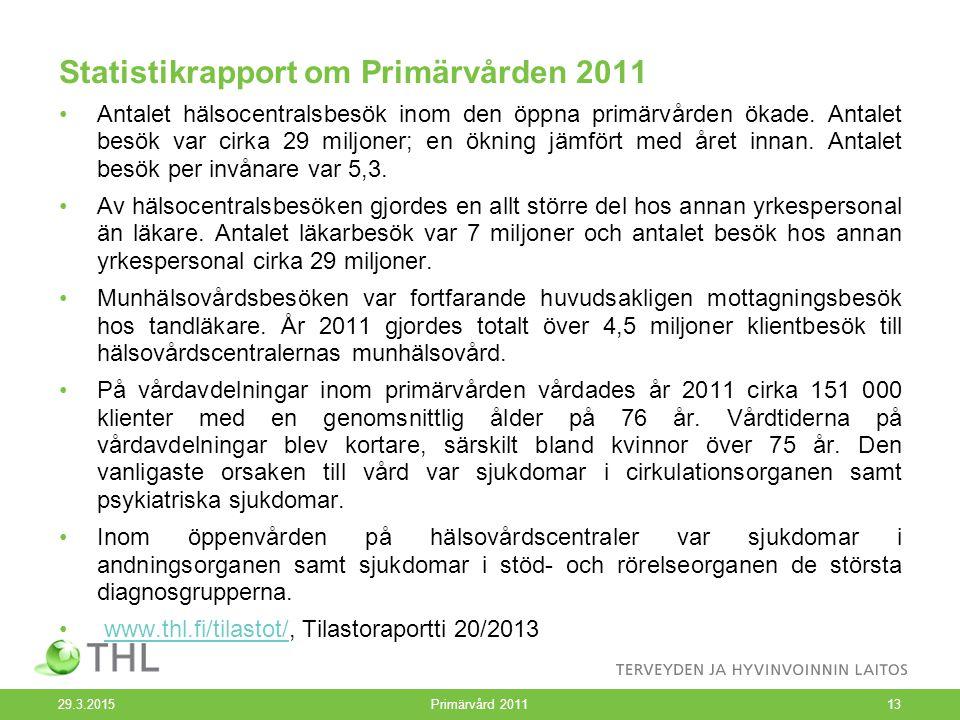Statistikrapport om Primärvården 2011 Antalet hälsocentralsbesök inom den öppna primärvården ökade. Antalet besök var cirka 29 miljoner; en ökning jäm