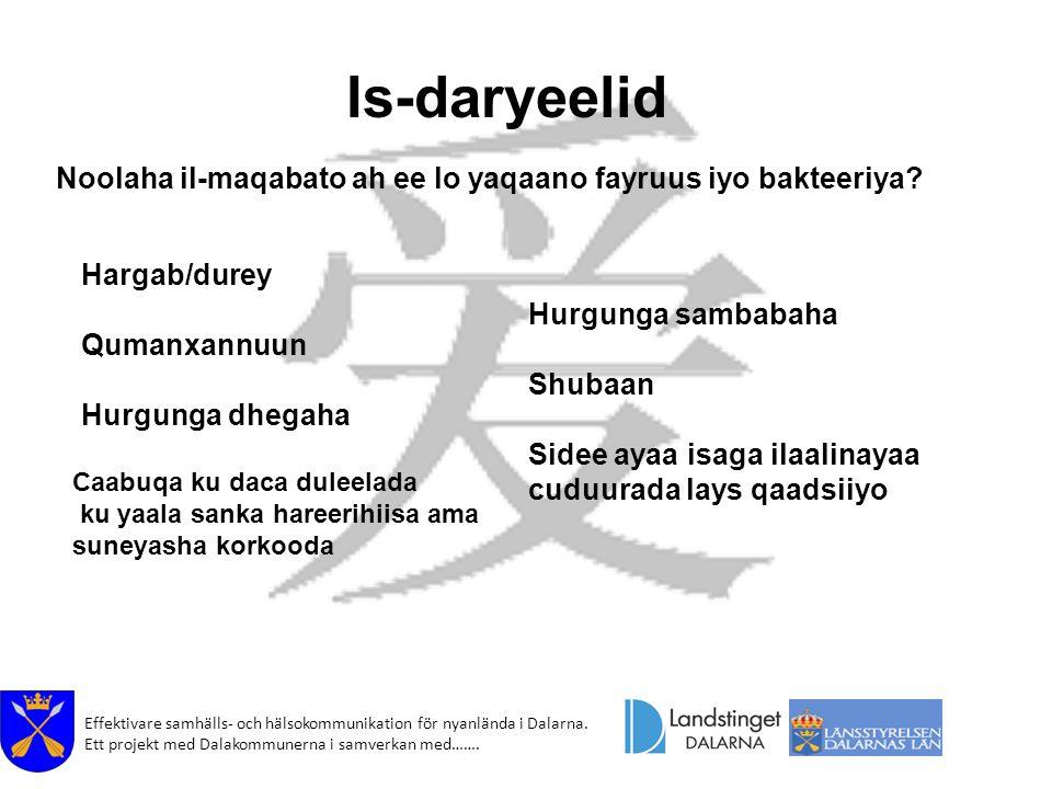 Effektivare samhälls- och hälsokommunikation för nyanlända i Dalarna. Ett projekt med Dalakommunerna i samverkan med……. Is-daryeelid Noolaha il-maqaba