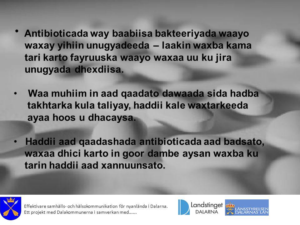 Effektivare samhälls- och hälsokommunikation för nyanlända i Dalarna. Ett projekt med Dalakommunerna i samverkan med……. Antibioticada way baabiisa bak