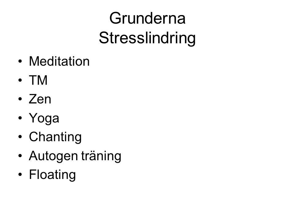 Grunderna Stresslindring Meditation TM Zen Yoga Chanting Autogen träning Floating