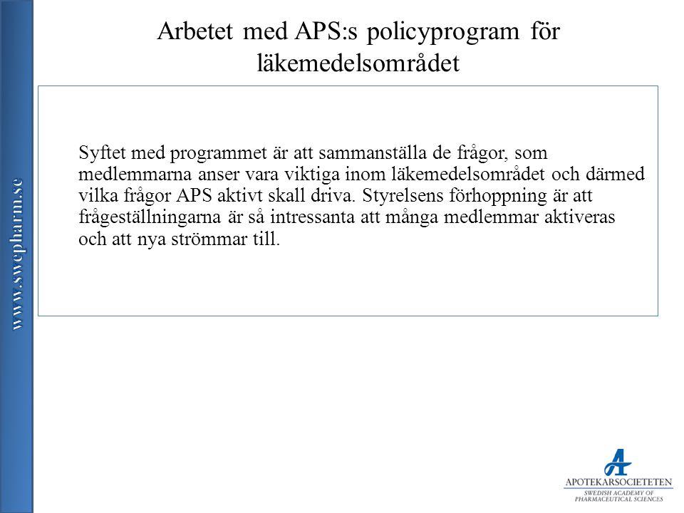 Arbetet med APS:s policyprogram för läkemedelsområdet Syftet med programmet är att sammanställa de frågor, som medlemmarna anser vara viktiga inom läkemedelsområdet och därmed vilka frågor APS aktivt skall driva.