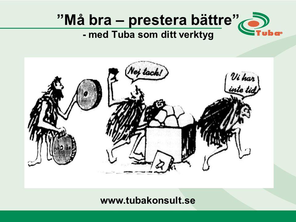 Må bra – prestera bättre - med Tuba som ditt verktyg www.tubakonsult.se