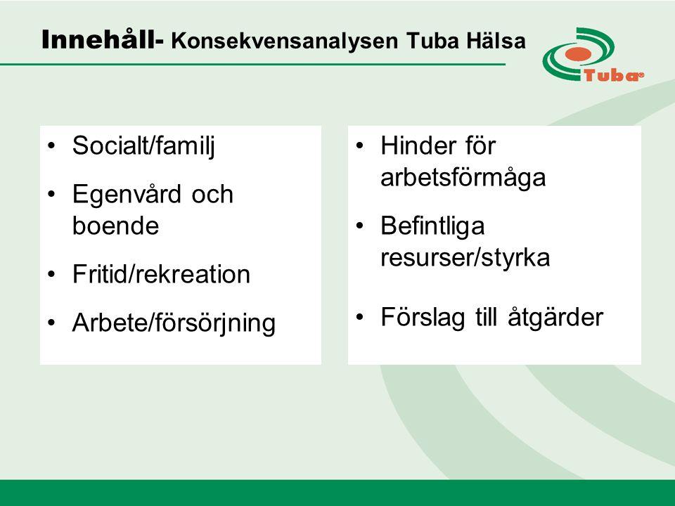 Innehåll- Konsekvensanalysen Tuba Hälsa Socialt/familj Egenvård och boende Fritid/rekreation Arbete/försörjning Hinder för arbetsförmåga Befintliga resurser/styrka Förslag till åtgärder