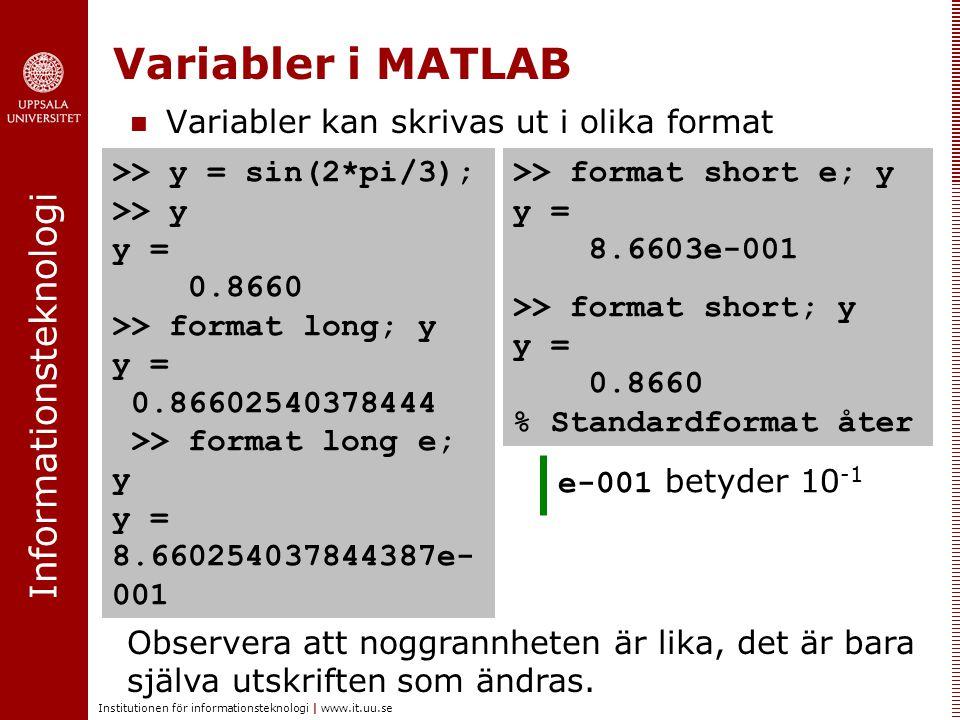 Informationsteknologi Institutionen för informationsteknologi | www.it.uu.se Variabler kan skrivas ut i olika format Variabler i MATLAB Observera att