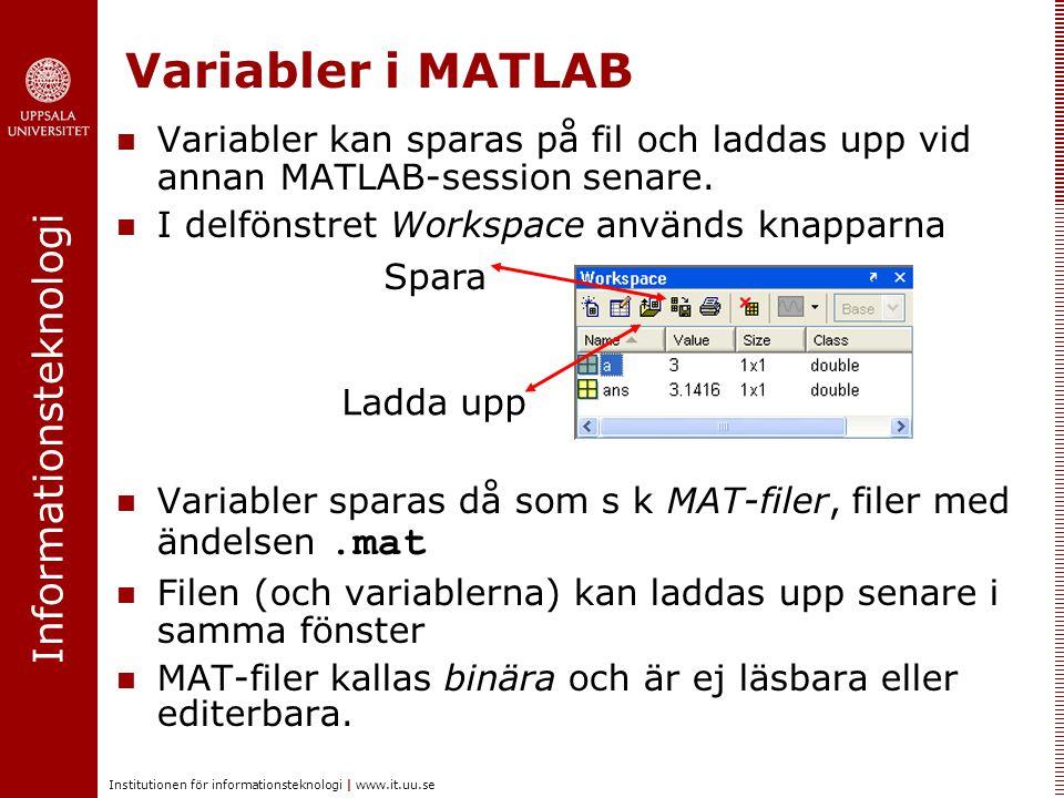 Informationsteknologi Institutionen för informationsteknologi | www.it.uu.se Variabler i MATLAB Variabler kan sparas på fil och laddas upp vid annan M
