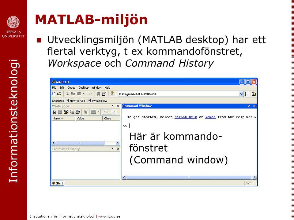 Informationsteknologi Institutionen för informationsteknologi | www.it.uu.se MATLAB-miljön Exakt vad som syns i MATLAB-fönstret kan man styra själv Markera i menyn Desktop vad som ska synas i MATLAB-fönstret Här syns bl a att Command Window, Command History, Workspace ska synas (vilket ju stämmer)