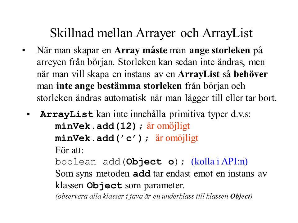 ArrayList ArrayList är en klass som finns i paketet util, och därför måste man importera detta paket när man vill använda ArrayList. ArrayList har en