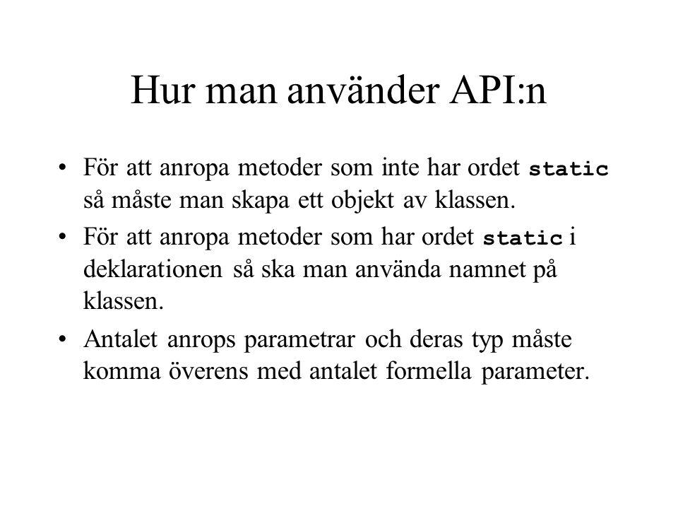 Hur man använder API:n API:n består av en hel del paket som innehåller massa definierade referens datatyper som vi ibland kallar de klasser. Varje kla