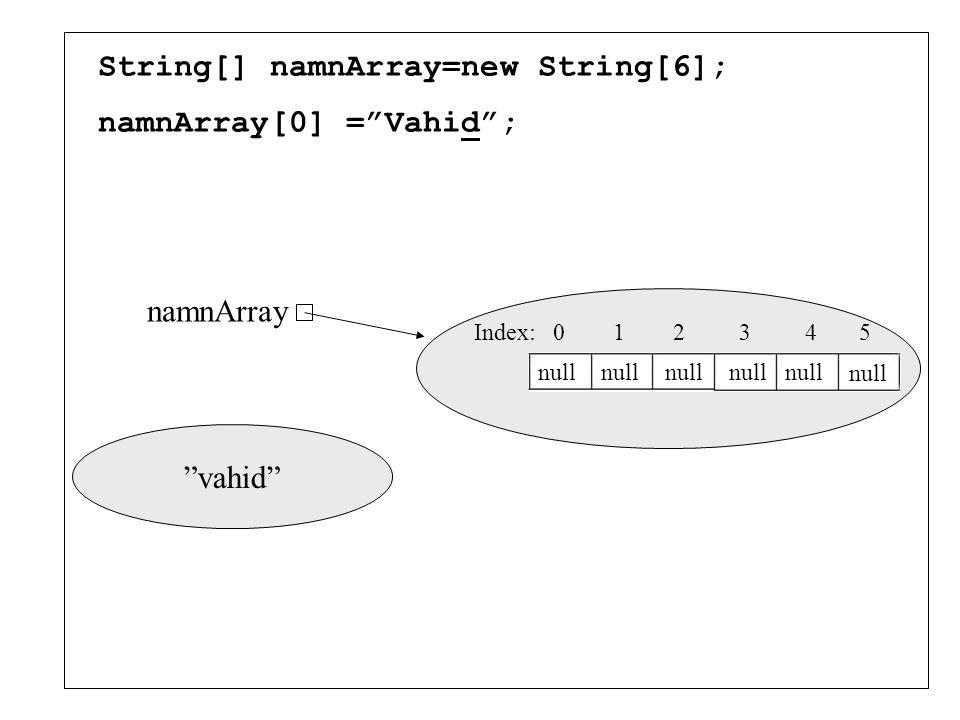 Array Array är en indexerad lista av element som har samma typ. Man kan både ha arrayer av primitiva typer (int, double, char,...) och arrayer av refe