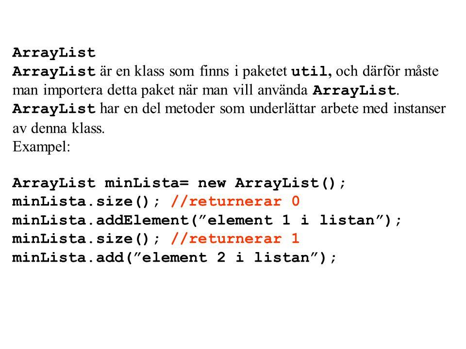 Array har ett fält som heter length och den visar arrayens storlek. t.ex: int[] enArray=new int[30]; enArray.length; //har värdet 30