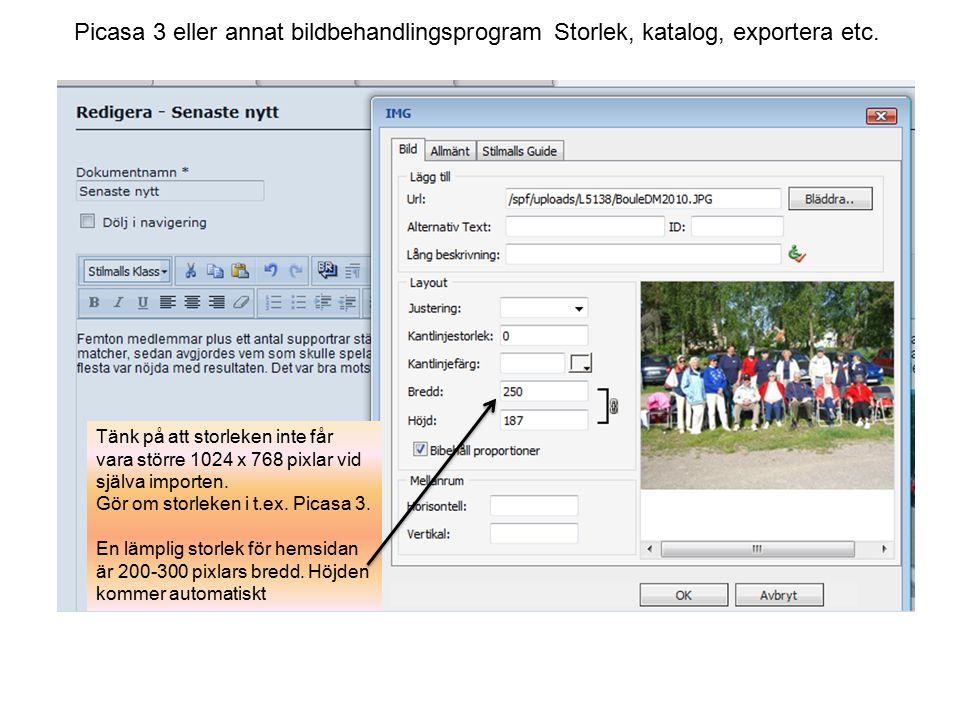 Picasa 3 eller annat bildbehandlingsprogram Storlek, katalog, exportera etc.