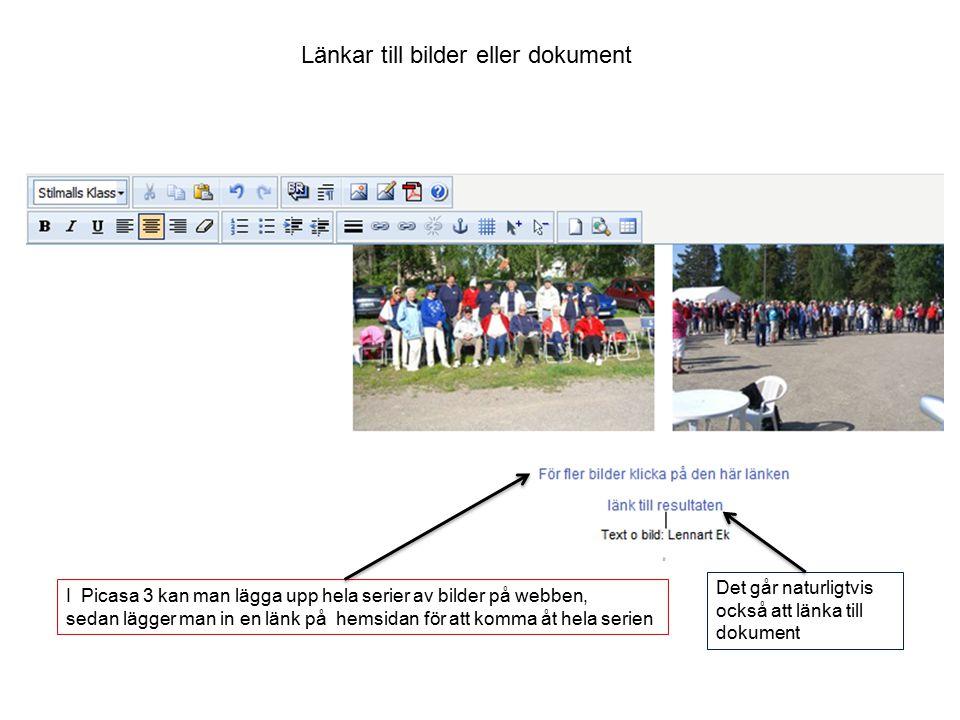 Länkar till bilder eller dokument I Picasa 3 kan man lägga upp hela serier av bilder på webben, sedan lägger man in en länk på hemsidan för att komma åt hela serien Det går naturligtvis också att länka till dokument