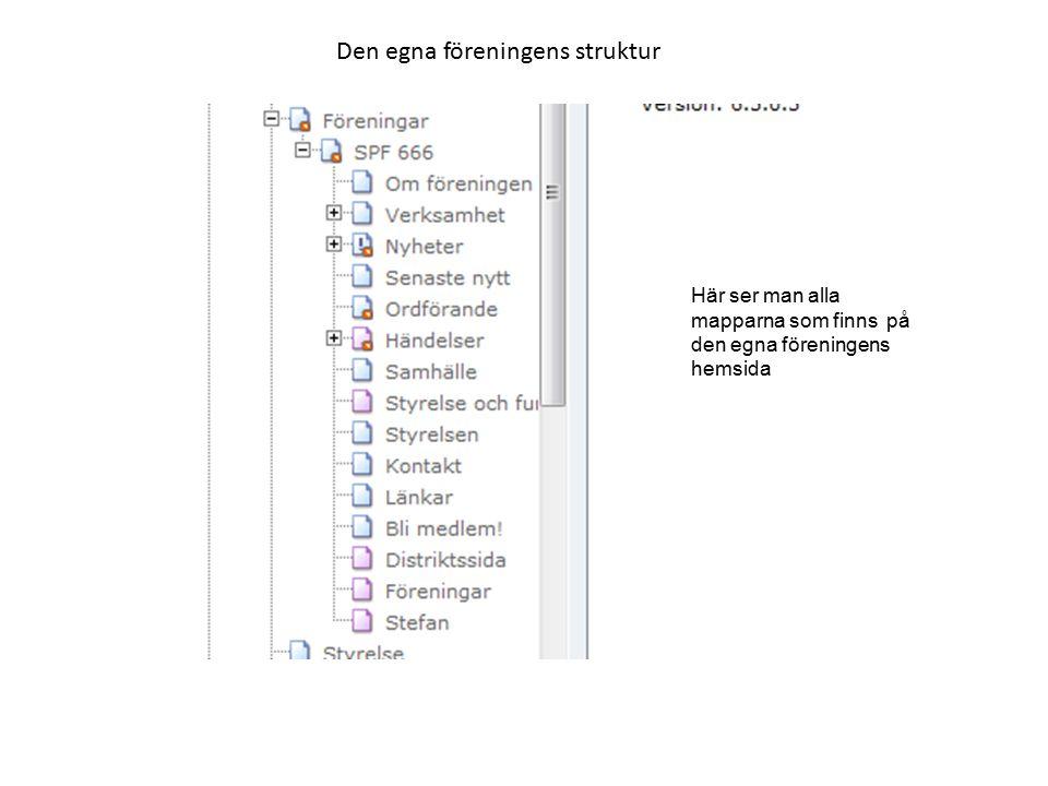Den egna föreningens struktur Här ser man alla mapparna som finns på den egna föreningens hemsida